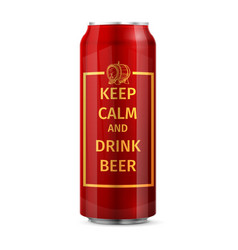 Keep calm and drink beer can vector