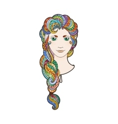 Beautiful girl with intricately patterned vector