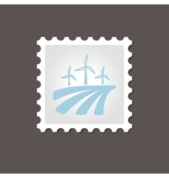 Windmill on the field stamp outline vector