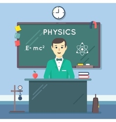 School physics teacher in audience flat vector