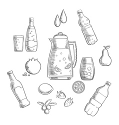 Beverages and drinks sketches composition vector
