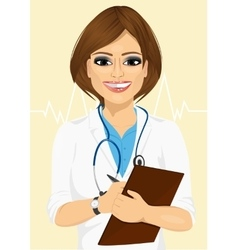 Confident female doctor taking patient notes vector