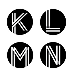 Capital letters k l m n in a black circle vector