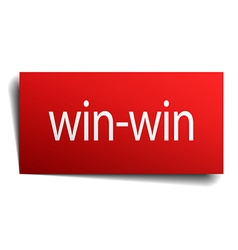 Win-win red square isolated paper sign on white vector