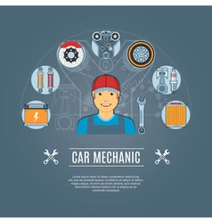 Car mechanic concept icons vector