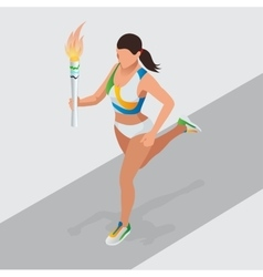 Woman running with sport torch sporting vector