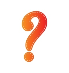 Question mark sign orange applique isolated vector