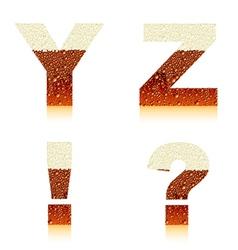 alphabet dark beer yz vector image vector image