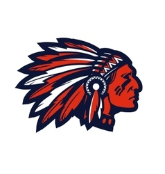 American native chief head mascot logo or vector