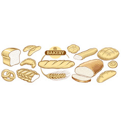 Bakery food item bread baguette in wheat circle vector