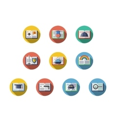 Book genres round flat icons set vector