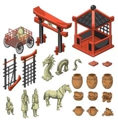 Build snake samurai and decor in asian style vector