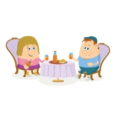 Children near table isolated vector image