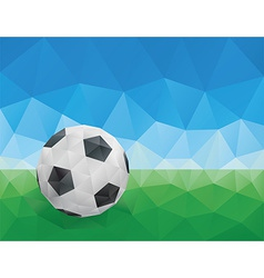 Classic soccer ball green grass and blue sky vector
