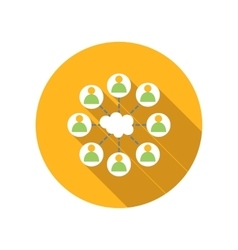 Cloud surrounded people flat icon vector