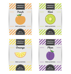 colorful design set of fruits labels 2 vector image