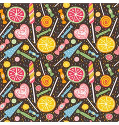 Cute seamless pattern with lollipops and candies vector