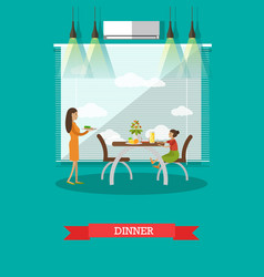 Dinner concept in flat style vector