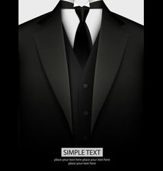 elegant black tuxedo with tie vector image vector image