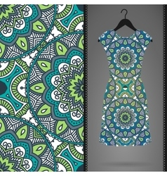 Ethnic floral seamless pattern with dress vector