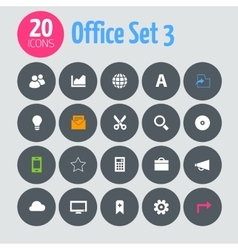 Flat minimalistic office 3 icons on dark gray vector image vector image