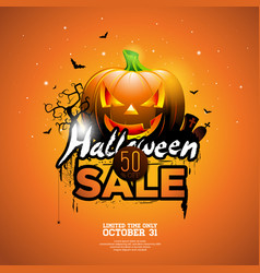 Hallowen sale with pumpkin cemetery and bats on vector
