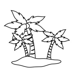Isolated island with palm trees icon image vector