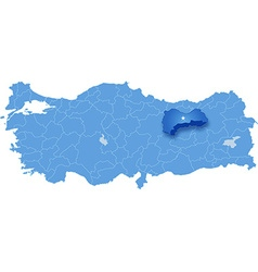 Map of turkey erzinca vector