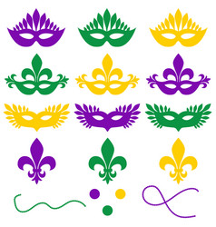 Mardi gras set of objects on a white background vector