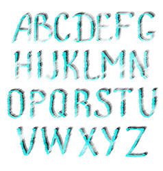 turquoise letters of english alphabet vector image vector image