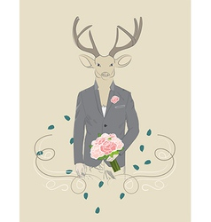 Vintage of a deer in a suit vector image