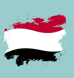 Yemen flag grunge style on blue background brush vector