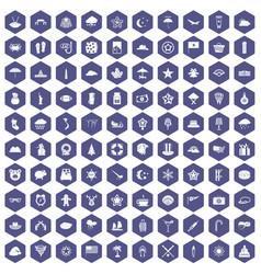 100 star icons hexagon purple vector