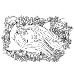 Girl sleeping on a pillow in vector