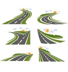 Curvy roads landscape set vector