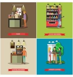 Set of coffee cash concept design elements vector