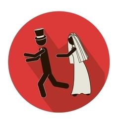 Circular shape pictogram of wife chasing husband vector