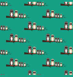 owls family on the branch seamless pattern vector image
