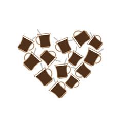 Coffee mug heart i love caffeine i like to drink vector