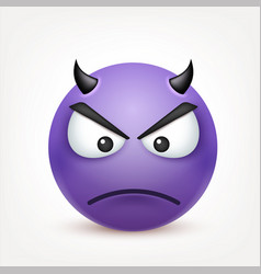 Smileydevil angry emoticon yellow face with vector