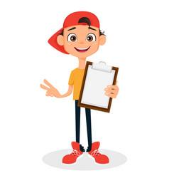 Cool boy in cap holding clipboard cute cartoon vector