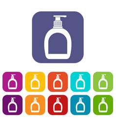 Bottle with liquid soap icons set flat vector