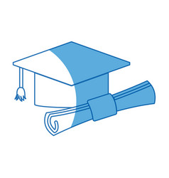 Graduation hat and diploma success school icon vector