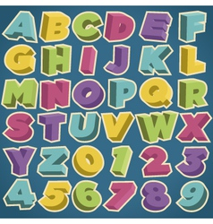 Retro 3d alphabet and numbers vector