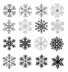 Black and white snowflakes set vector