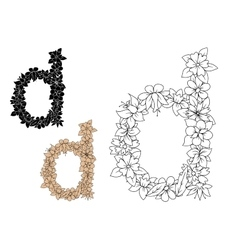 Lowercase letter d with dainty flowers vector