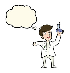 Cartoon happy scientist with thought bubble vector
