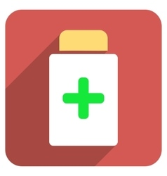 Medication bottle flat rounded square icon with vector
