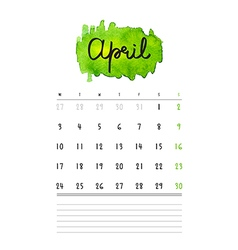 Calendar 2017 template with green watercolor stain vector