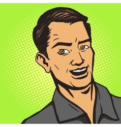 Man listens pop art style vector